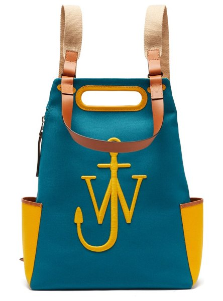 J.W.ANDERSON anchor logo-embroidered canvas backpack in yellow multi