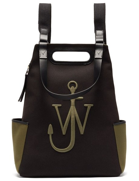 J.W.ANDERSON anchor logo-embroidered canvas backpack in khaki multi