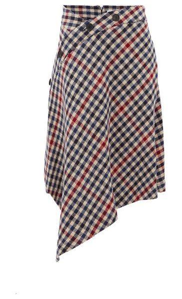 J.W.ANDERSON asymmetric checked wool blend skirt in multi