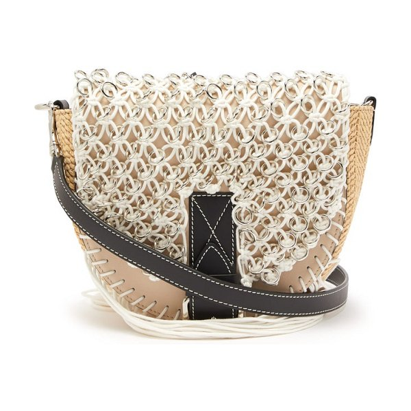 J.W.ANDERSON bike small macramé and leather cross-body bag in beige navy