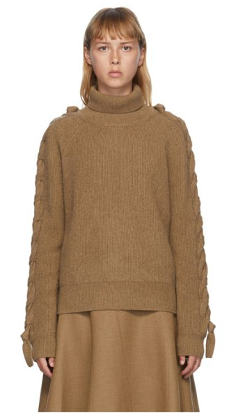 J.W.ANDERSON cable insert turtleneck in brown