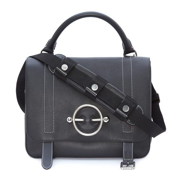 J.W.ANDERSON disc leather top handle satchel in black -