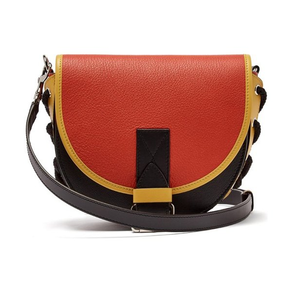 J.W.ANDERSON bike leather saddle cross body bag in red multi