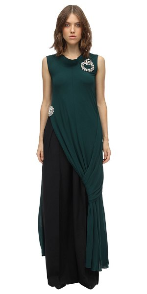 J.W.ANDERSON Layered & draped fluid jersey dress top in emerald