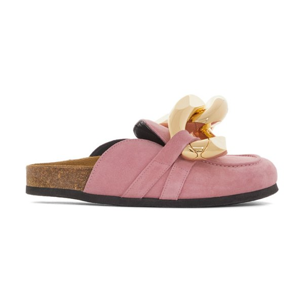 J.W.ANDERSON suede chain loafers in pink