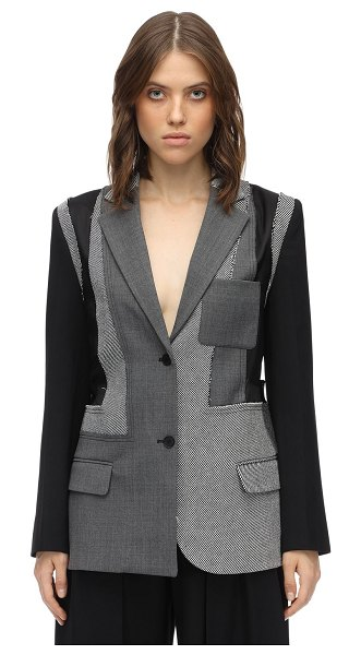 J.W.ANDERSON Tailored patchwork wool crepe jacket in heather grey