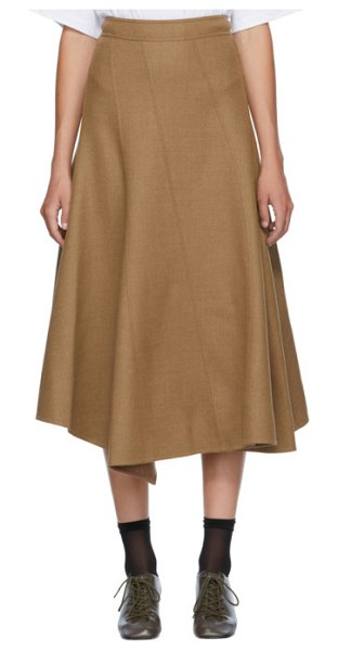J.W.ANDERSON tan spiral skirt in 617 praline