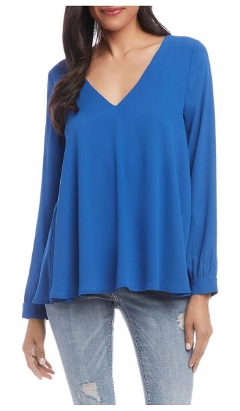 Karen Kane cross back crepe swing top in blue
