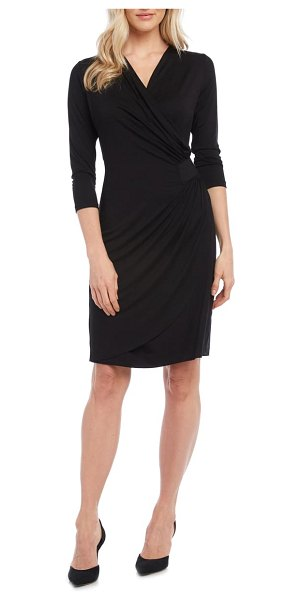 Karen Kane kate ruched waist tulip hem jersey dress in black