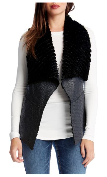 Karen Kane reversible faux fur vest in black