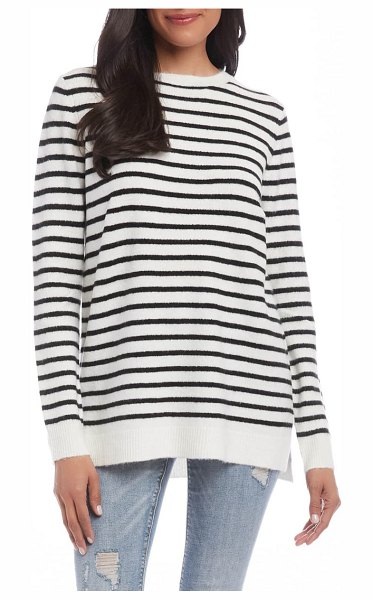 Karen Kane stripe pullover sweater in black/ cream
