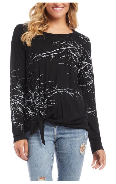 Karen Kane tree print side knot top in black