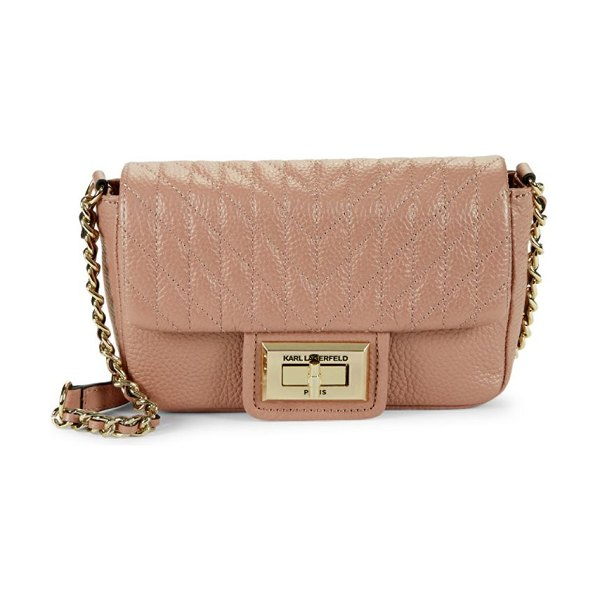 Karl Lagerfeld Paris Agyness Faux Leather Crossbody bag in rose gold