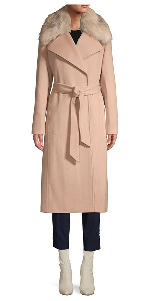 Karl Lagerfeld Paris Faux Fur-Trimmed Belted Coat in nude