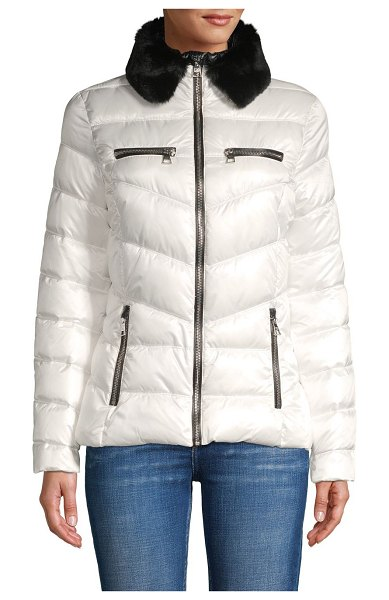 Karl Lagerfeld Paris Faux Fur-Trimmed Puffer in optic white