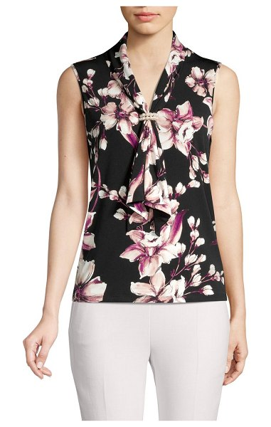 Karl Lagerfeld Paris Floral Beaded Sailorneck Blouse in black