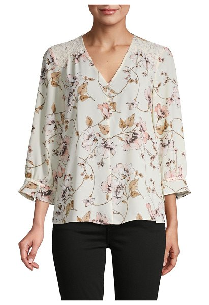 Karl Lagerfeld Paris Floral Blouse in cream