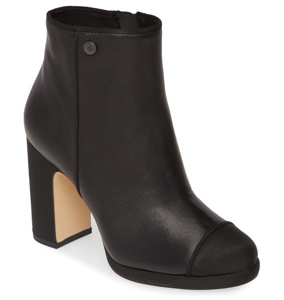 Karl Lagerfeld Paris lainey cap toe boot in black nappa leather