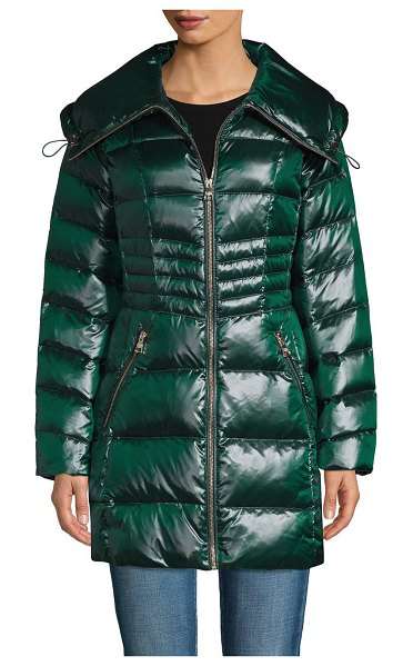 Karl Lagerfeld Paris Packable Down Puffer in emerald
