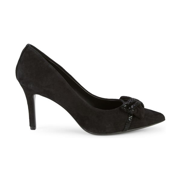 Karl Lagerfeld Paris Rais Bow Suede Pumps in black