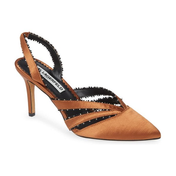 Karl Lagerfeld Paris rowena pump in copper satin