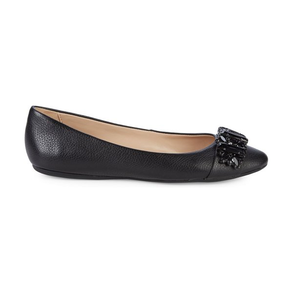 Karl Lagerfeld Paris Viola Embellished Leather Ballerina Flats in black