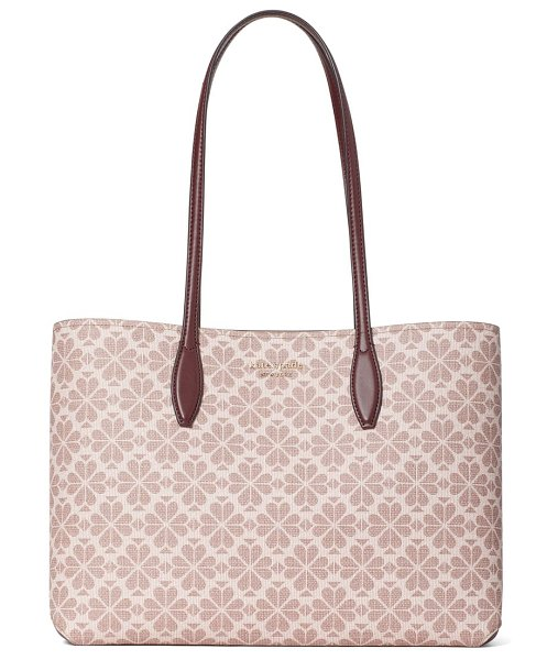 Kate Spade New York all day spade flower coated canvas tote in pink multi