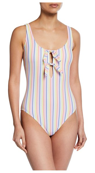Kate Spade New York bunny tie striped one-piece swimsuit in white