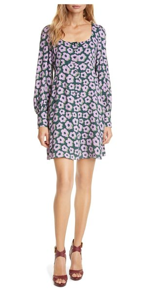 Kate Spade New York flair floral long sleeve minidress in deep spruce