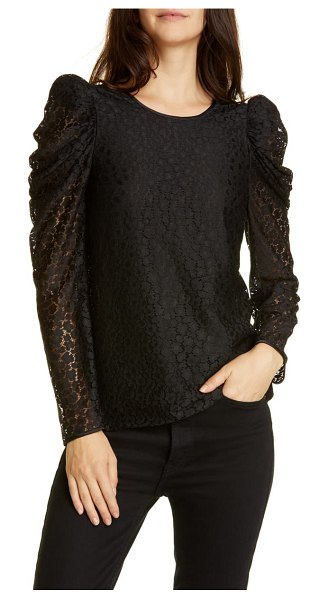 Kate Spade New York flora leopard lace puff long sleeve blouse in black