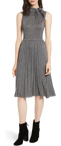Kate Spade New York metallic knot sweater dress in dark silver - A season-right sparkle enlivens this pretty party dress,...