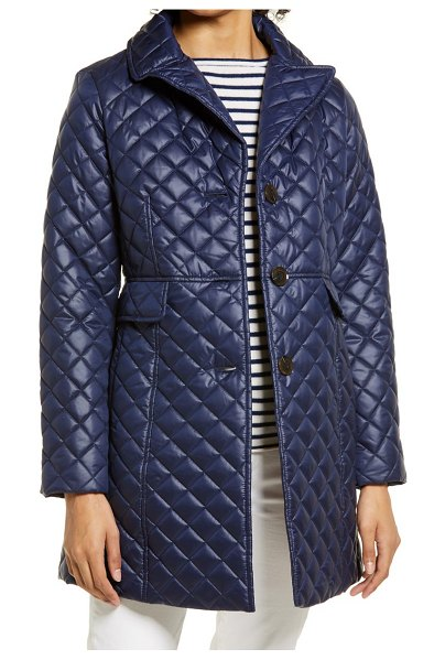 Kate Spade New York quilted flared jacket in squid ink