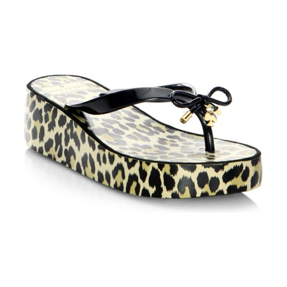 e747b9a753a7 Kate Spade New York rhett rubber flip flops in black - Flip flops with an  animal