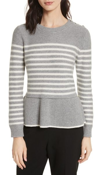 KATE SPADE NEW YORK stripe peplum sweater - Kissed with cashmere, this woolly knit pullover is...
