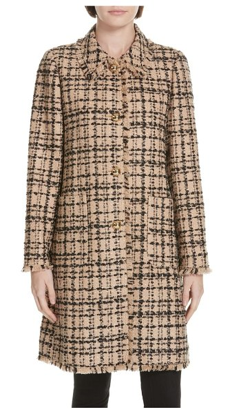 Kate Spade New York two-tone tweed coat in roasted peanut/ black - A tweed topper is a polished staple-this three-quarter...