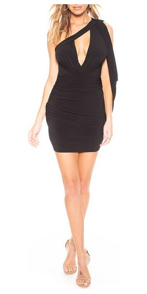 Katie May Hot Sauce Draped One-Shoulder Mini Ruched Dress in black