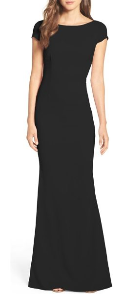 Katie May intrigue plunge knot back gown in black