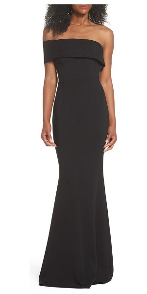 Katie May titan one-shoulder cutout crepe gown in black - A gently pleated, one-shoulder neckline gives way to a...
