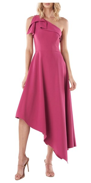 Kay Unger bethany one-shoulder asymmetrical gown in berry