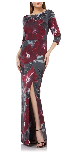Kay Unger floral-print gown in burgundy/ charcoal