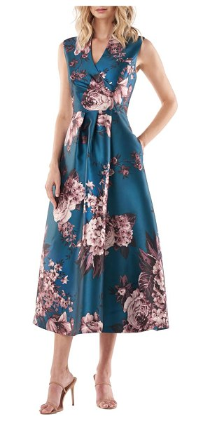 Kay Unger galina sleeveless floral print gown in turkish blue multi