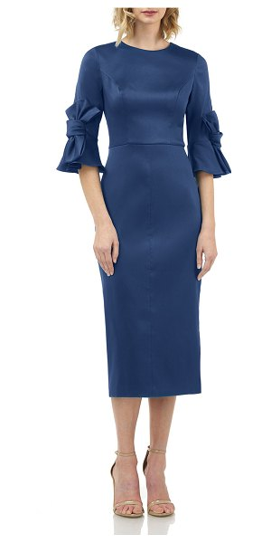 Kay Unger Jewel-Neck Mikado Sheath Dress with 3D Bows in deep sea