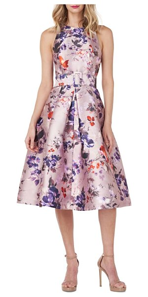 Kay Unger jordan belted midi cocktail dress in orchid multi