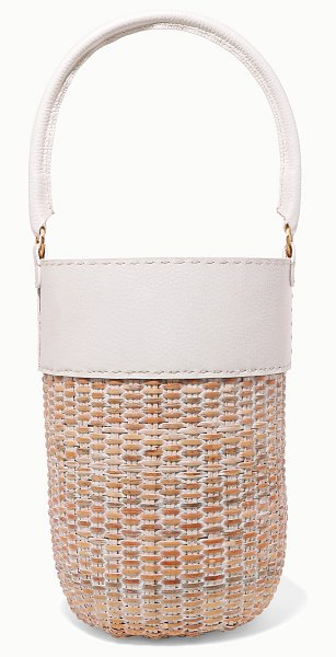 Kayu lucie leather and straw tote in white