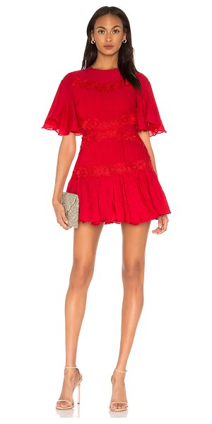 Keepsake Only Surrender Mini Dress In Red in red - Self: 71% viscose 29% polyamideLace: 100% polyLining:...