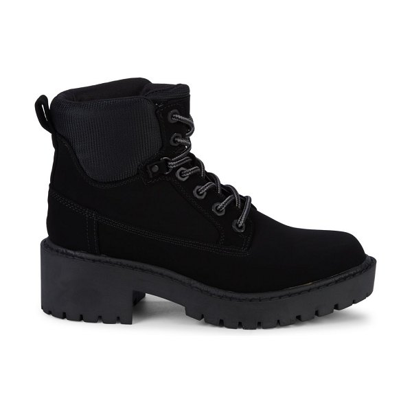 KENDALL + KYLIE Faux Suede Combat Boots in black