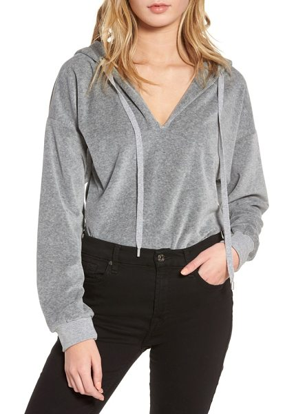 KENDALL + KYLIE hooded bodysuit in medium heather grey