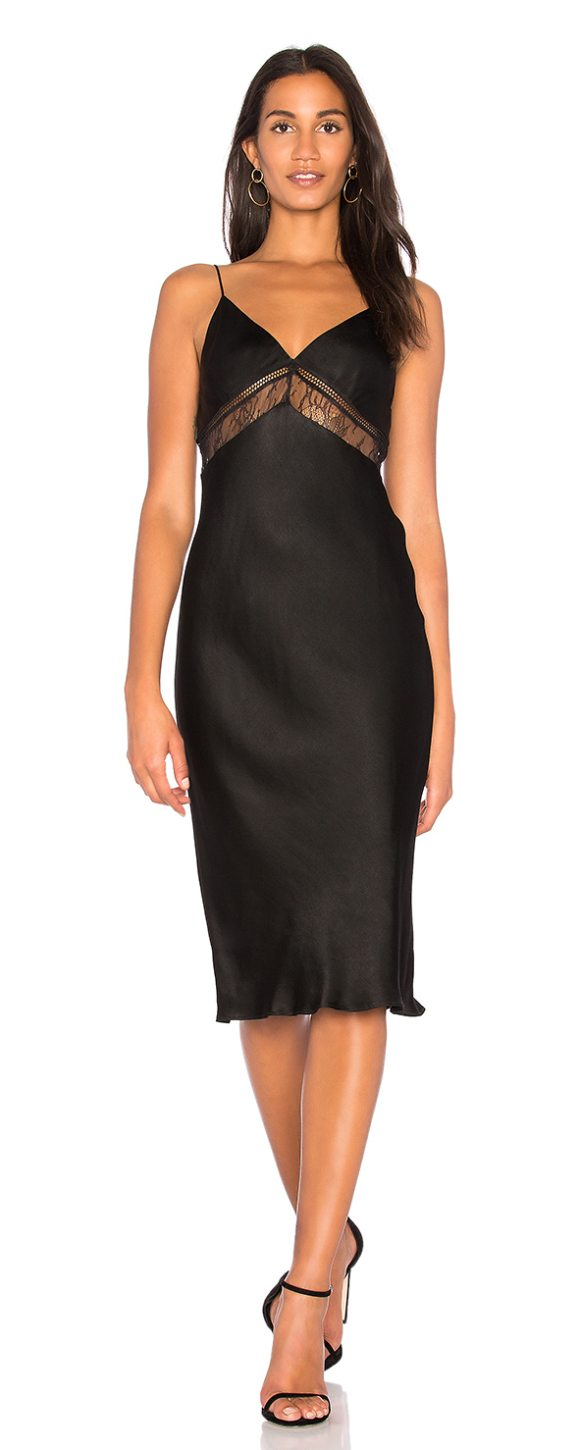 Kendall Kylie Lace Slip Dress In Black Poly Blend Dry Clean Only