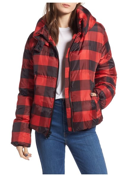 KENDALL + KYLIE oversize plaid puffer jacket in black/ red plaid - An Americana Buffalo plaid defines this wonderfully...