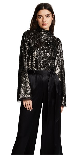 KENDALL + KYLIE sequin mock neck top in silver multi - A bold KENDALL + KYLIE mock-neck top with shimmery...